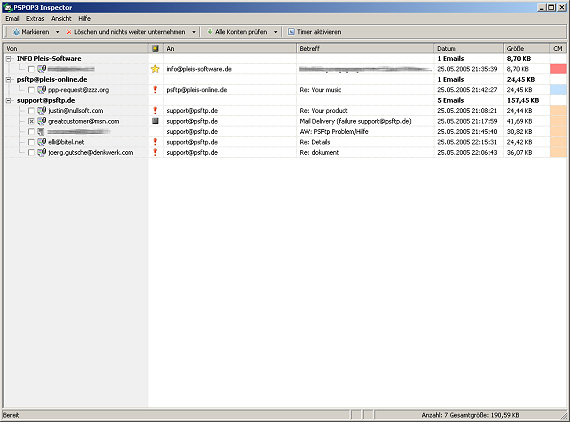 Click to view PSPOP3 Inspector 1.3.375 screenshot
